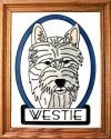 Artistic Gifts Art Glass BW143 Westie I Vertical Panel
