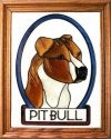 Artistic Gifts Art Glass BW151 Pit Bull natural Vertical Panel