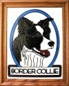 Silver Creek Art Glass BW180 Border Collie Vertical Panel