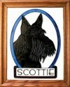 Artistic Gifts Art Glass BW238 Scottish Terrier Vertical Panel