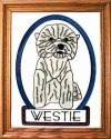 Artistic Gifts Art Glass BW246 Westie II Vertical Panel