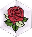 Silver Creek Art Glass E002 Rose Hex Suncatcher