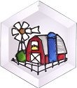 Artistic Gifts Art Glass E022 Farm Scene Hex Suncatcher