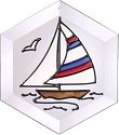 Silver Creek Art Glass E043 Sailboat Hex Suncatcher