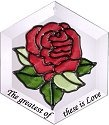 Silver Creek Art Glass ES002 Red Rose Hex Suncatcher