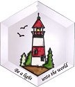 Silver Creek Art Glass ES044 Lighthouse Hex Suncatcher