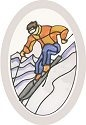 Silver Creek Art Glass O1008 Downhill Skier Oval Beveled Glass