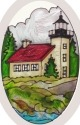Silver Creek Art Glass O1040 MI Copper Harbor Oval Beveled Glass
