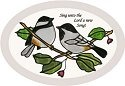 Artistic Gifts Art Glass OS020 Chickadee Oval Beveled Glass