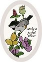 Artistic Gifts Art Glass OS1019 Chickadee Oval Beveled Glass