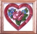 Silver Creek Art Glass Q001 Forget-me-nots in Heart Panel