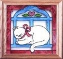 Artistic Gifts Art Glass Q002 Cat in Window Panel