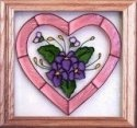 Silver Creek Art Glass Q013 Violets in Heart Panel