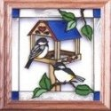Artistic Gifts Art Glass Q025 Chickadee at Bird Feeder Panel