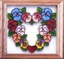 Silver Creek Art Glass Q027 Pansy Heart Panel