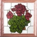 Silver Creek Art Glass Q031 Geraniums Panel