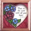 Silver Creek Art Glass S001 Rose Love the Lord Panel
