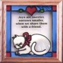 Artistic Gifts Art Glass S029 Cat Joys are Sweeter Panel