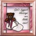 Artistic Gifts Art Glass S042 Baby Girl Pink Panel
