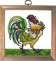 Silver Creek Art Glass S055 Irish Rooster Panel