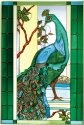 Artistic Gifts Art Glass U003 Peacock Vertical Panel