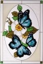 Artistic Gifts Art Glass V225 Blue in Oval Vertical Panel