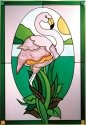 Artistic Gifts Art Glass V226 Flamingo in Oval Vertical Panel