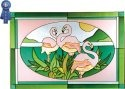 Artistic Gifts Art Glass V229 Flamingo Horizontal Panel