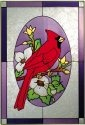 Artistic Gifts Art Glass V233 Cardinal in Oval Vertical Panel