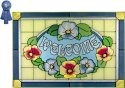 Silver Creek Art Glass V240 French Blue Pansies Horizontal Panel