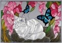 Artistic Gifts Art Glass V293 White Cat & Blue Butterfly Horizontal Panel