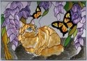 Artistic Gifts Art Glass V294 Cat Tabby & Butterfly Horizontal Panel