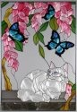 Artistic Gifts Art Glass V295 White Cat & Blue Butterfly Vertical Panel