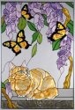 Artistic Gifts Art Glass V296 Cat Tabby & Butterfly Vertical Panel