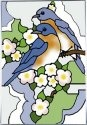 Artistic Gifts Art Glass V405 Bluebird & Blossom Vertical Panel