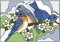 Artistic Gifts Art Glass V406 Bluebird & Blossom Horizontal Panel
