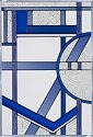 Silver Creek Art Glass V440 Deco Blue Panel