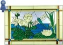 Silver Creek Art Glass V505 Dragonfly and Waterlilies Horizontal Panel