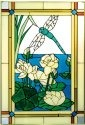 Silver Creek Art Glass V506 Dragonfly and Waterlilies Vertical Panel