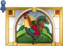 Artistic Gifts Art Glass V519 Rooster Horizontal Panel
