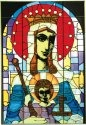 Silver Creek Art Glass V523 Madonna and Child Vertical Panel