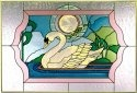 Artistic Gifts Art Glass V527 Swan Horizontal Panel