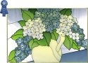 Silver Creek Art Glass V529 Hydrangea Horizontal Panel