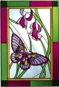 Artistic Gifts Art Glass V534 Plum Green Border Vertical Panel