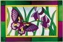 Artistic Gifts Art Glass V551 Plum Green Border Horizontal Panel