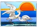 Artistic Gifts Art Glass V557 Shorebirds Snowy Egret Panel