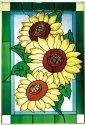 Silver Creek Art Glass V573 Sunflower Trio Vertical Panel