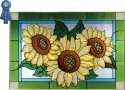 Silver Creek Art Glass V574 Sunflower Trio Horizontal Panel