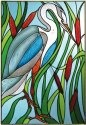Artistic Gifts Art Glass V577 Great Blue Heron Vertical Panel