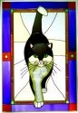 Artistic Gifts Art Glass V581 Cat Black & White Purple Border Vertical Panel